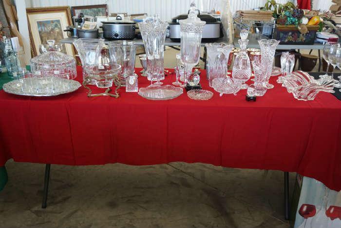 Crystal vases, serving plates, Salem SP wine glasses in rear.