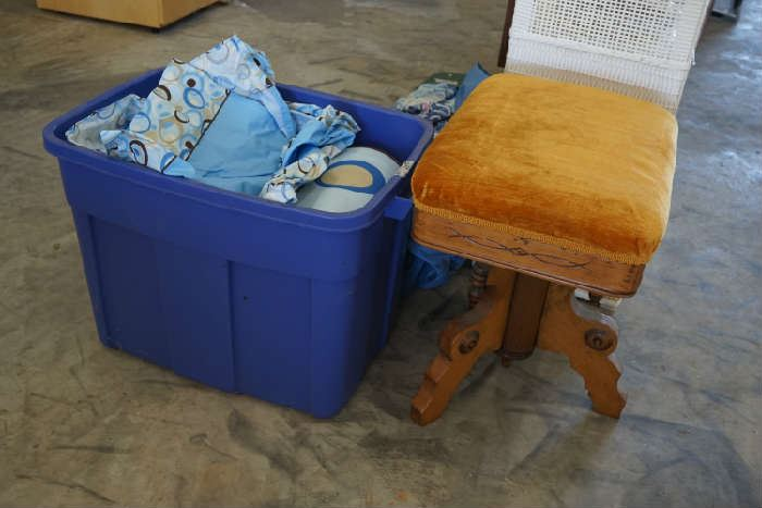 Piano/organ stool, baby bed bumpers and linens.