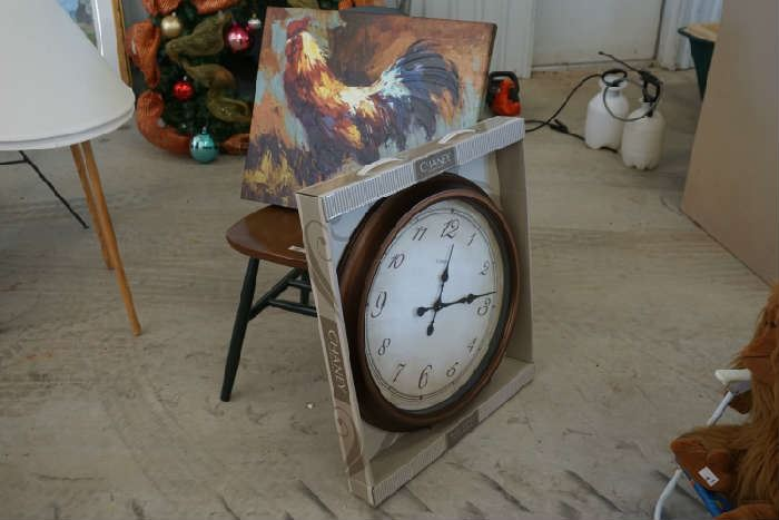 Clock NIB, rooster on canvas