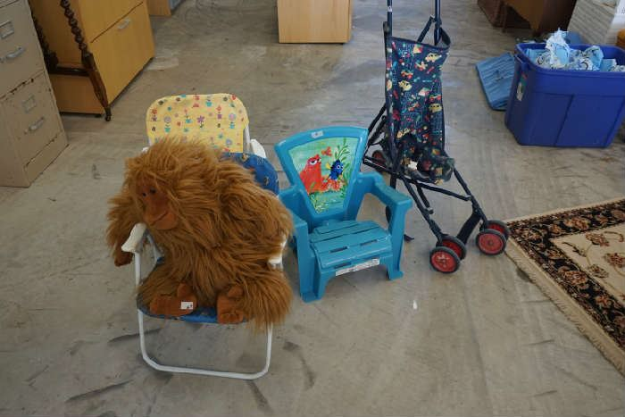 Kids chairs, stroller and chimp