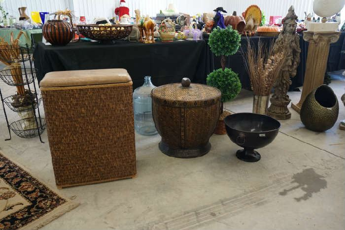 wicker hamper, decorative items large and small.
