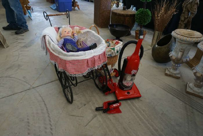 Doll carriages and doll, toy vac