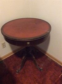 1940's Round game table with drawer