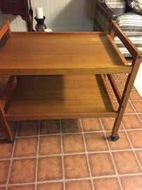 2 Danish modern teak bar carts.