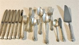 """Sterling Silver service for 6 plus serving pieces.            """"S"""" monogram"""
