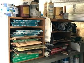 Boxes of Sand Paper & Painting Supplies