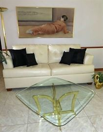 DuraBlend Blended Leather Sofa Bed & Matching Arm Chair, Hollywood Regency Glass Top Coffee Table