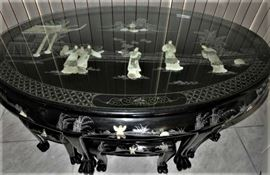 Vintage Asian Black Lacquered, Mother of Pearl/Jade Inlay Table & Claw Foot Stool Set