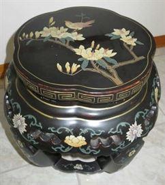 Asian Black Floral & Bird Design Garden Stool