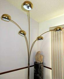 Vintage Modern Brass 5 Arc Arm Marble Floor Lamp