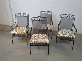 4 Black Metal Patio Chairs