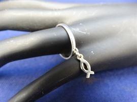925 Ichthus Dangle Charm Ring