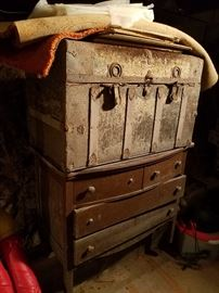 Antique Steamer Trunk, Antique Chest of Drawers