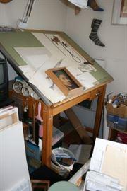 """vintage oak wooden art/drafting table 48"""" x 38"""" x 36"""""""