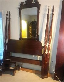 Queen bed frame , mirror. THOMASVILLE