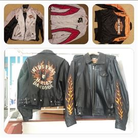 a pair of His & Her leather jackets