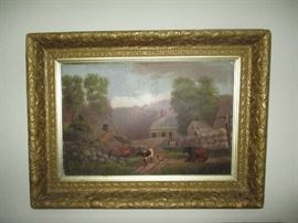 OLD PAINTING IN ORNATE FRAME