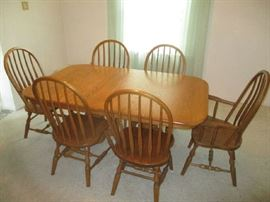 OAK DINING SET WITH SIX CHAIRS