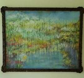 LARGE ORIGINAL PAINTING WITH CARVED ANTIQUE FRAME, ONE OF MANY OF ALLL SIZES