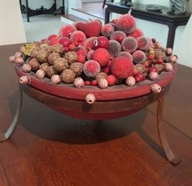 CENTERPIECE MADE FROM BEADED FAUX FRUIT AND UNIQUE FINDINGS, IN A HEAVY BOWL WITH METAL LEGS