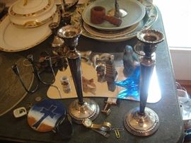 Sterling Silver Weighted Candle Sticks.  Pairs of short & Tall