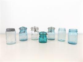 7 Small 1 Pint Antique Blue Mason Jars