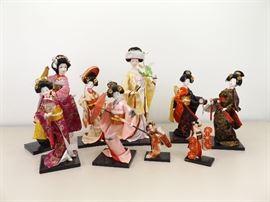 Collection of 9 Porcelain etc. Geisha Dolls