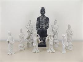 Collection of Samurai Warrior and His Harem of 8 Porcelain Geisha's