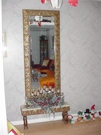 Pier mirror and marble top base