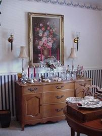 Floral still life, oil on canvas, and small buffet, French style; pair of buffet lamps, elaborate crystal candelabra, many smalls