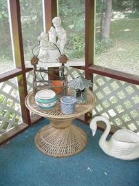 Porch table in Wicker, swan planter; lanterns, baskets, and more