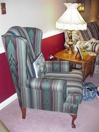 Striped fabric upholstered wing chair