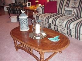Oak coffee table; Pierced pottery covered container; candle, ashtray