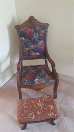 Floral Victorian chair with wood arms  $60