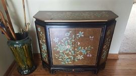 Asian black lacquer entryway cabinet - $75