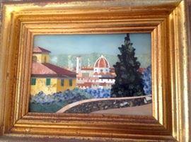Vinatge Italian framed precious stone mosaic with plaque