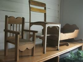 Child's chairs and wood cradle