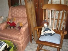 Living room chair, wood rocker, antique ironing board (2)