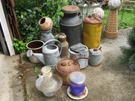 Lawn ornaments - milk cans, watering cans, bird baths, gas cans, ceramic balls