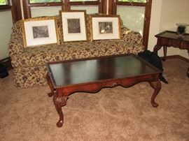 inlaid mahogany chippendale coffee table, sofa, architectural prints