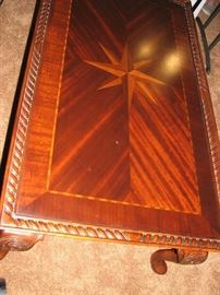 inlaid mahogany coffee table - chippendale style