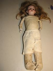 vintage german doll - leather and porcelain
