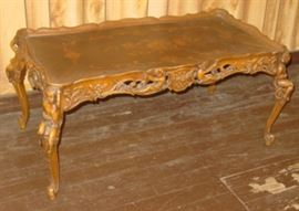 Ornate Inlaid Top Coffee Table w/Carved Cherubs