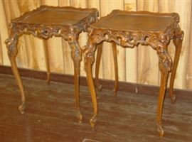 Ornate Inlaid Top Lamp Tables w/Carved Cherubs (Matches Coffee Table)