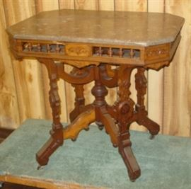Victorian Marble Top Lamp Table