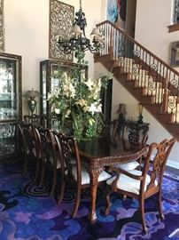 Beautiful dining suite and 2 large lite curios in contemporary design. All purchased at Treasures
