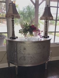 Beautiful silver painted demi lune and accessories. Drexel Heritage Piece.  beautiful quality
