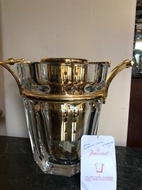 The finest Bacccarat ice bucket with gold detail and wine cooler insert.    Moulin Rouge