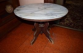 antique oak claw foot table with marble top