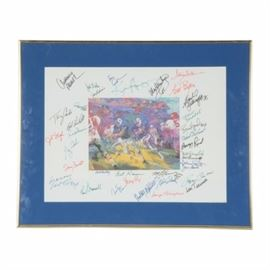 """1973 LeRoy Neiman Framed """"Inside The Bills"""" Autographed Print: A 1973 LeRoy Neiman framed Buffalo Bills versus Kansas City Chiefs watercolor print that has been signed by thirty-six NFL star players. Titled """"Inside The Bills,"""" this colorful watercolor print contains thirty-six signatures of former NFL players. This print was done by Neiman in 1973 commemorating the opening of Ralph Wilson Stadium in Buffalo. O.J. Simpson is the Bills ball carrier with owner Ralph Wilson on the sidelines."""